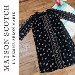 Maison Scotch 3/4 Pioneer Aztec Fringe Black Dress